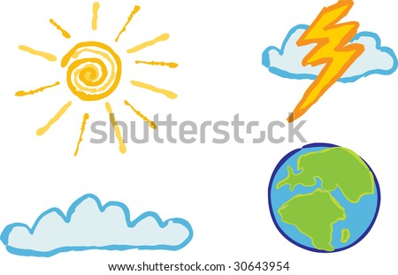 Shiny weather icons - Sunshine, cloud, lightening and globe  for your weather based designs.