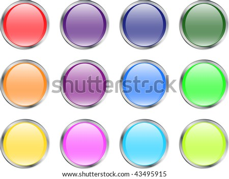 shiny web button set with metallic border