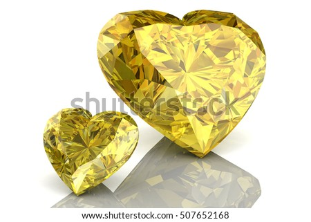 Shiny white yellow sapphire illustration (high resolution 3D image) 3D illustration