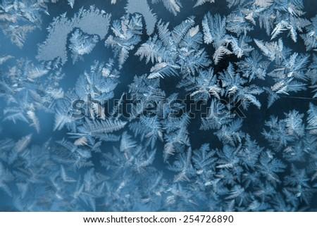 Shiny winter window ice snowflakes decoration closeup - stock photo