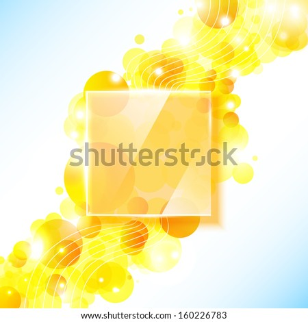 Shiny yellow geometric background with glass panel.