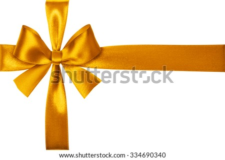 Shiny yellow satin ribbon on white background - stock photo