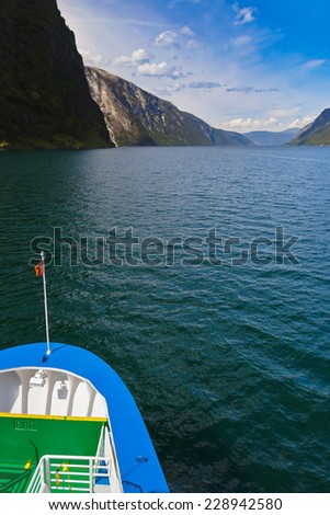 Ship and fjord Sognefjord - Norway - nature and travel background - stock photo