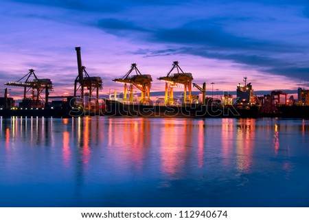 ship and port at night - stock photo