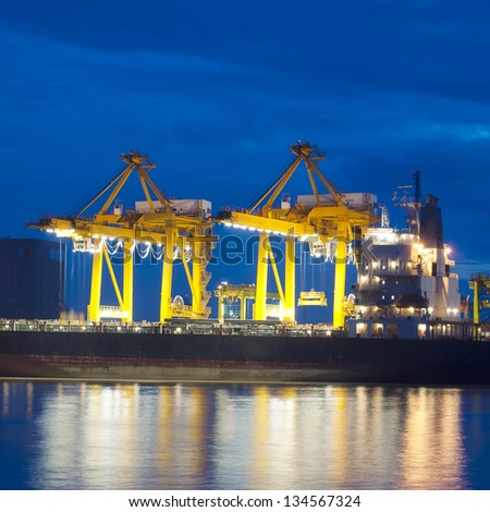 ship and port at night - stock photo