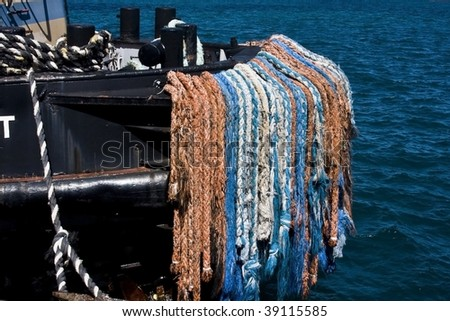 ship and ropes - stock photo