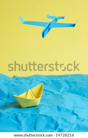 Ship and the plane - stock photo