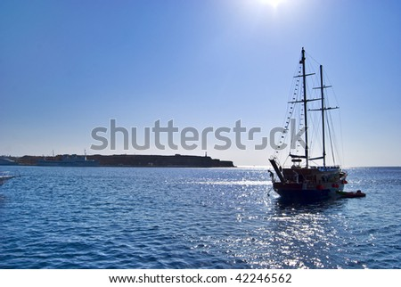 Ship At Sunset in the Egypt