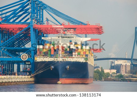 ship being loaded in harbor - stock photo