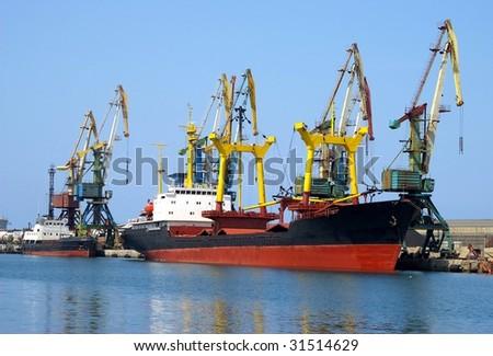 Ship beside quay - stock photo