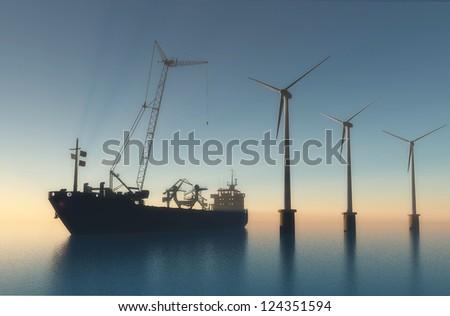 Ship building near Wind generators. - stock photo