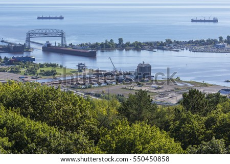 Ship Entering Duluth Harbor On Lake Superior