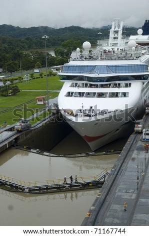 Ship entering the Pedro Miguel locks. Panama canal. - stock photo