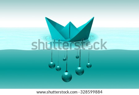 Ship float on the water with Wrecking ball - stock photo