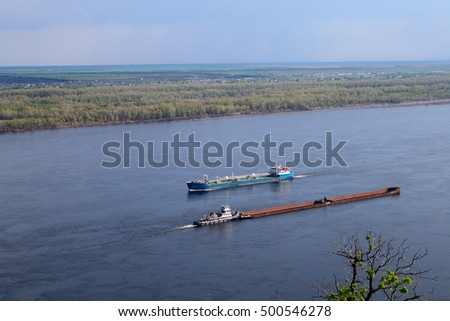 ship floats on the river