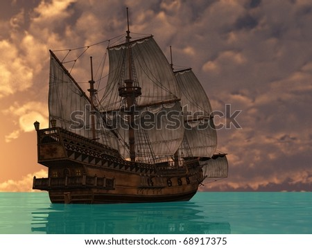 ship ij sea in sunset lights