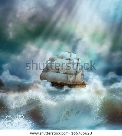 Ship in a marine thunderstorm - stock photo