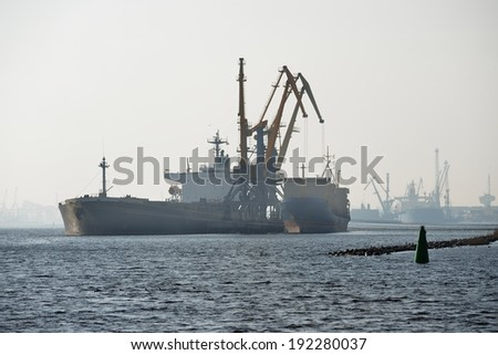 Ship in cargo port coal terminal. Riga terminal, Latvia