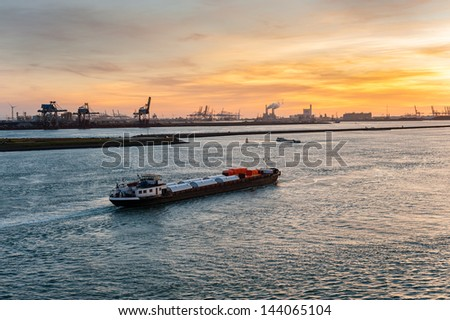 Ship in Nieuwe Waterweg canal, Hoek van Holland, The Netherlands