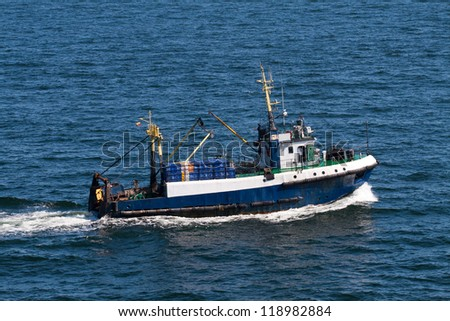 Ship in the Baltic Sea, Lithuania - stock photo