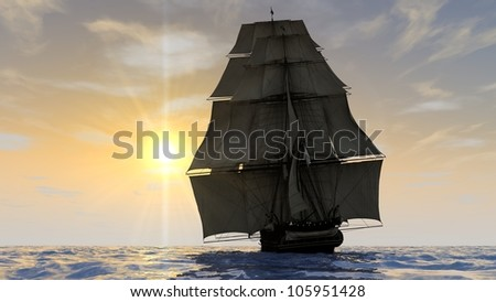 ship in the ocean in sunset light view from rear - stock photo