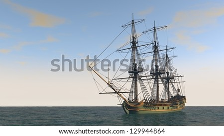 ship in the ocean with no sales - stock photo