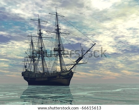 ship in the sea with no sails