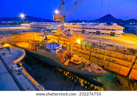 Ship in the shipyard - stock photo