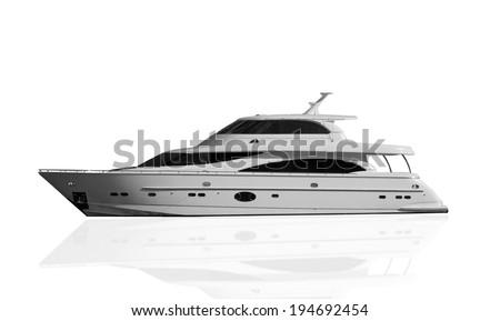 ship isolated over white background - stock photo