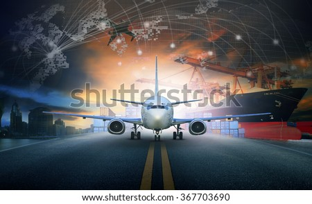 ship loading container in import - export pier and air cargo plane approach in airport use for transport and freight logistic business industry background - stock photo