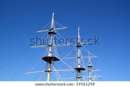 ship mast on  blue background - stock photo