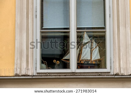 ship model in a window icon for hobby, marine, wanderlust, - stock photo