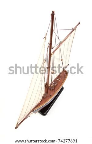 ship model isolated on white background - stock photo