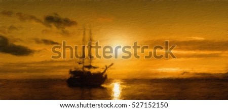 ship on a sunset background.  Oil painting effect