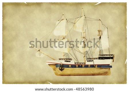 Ship on old paper - stock photo