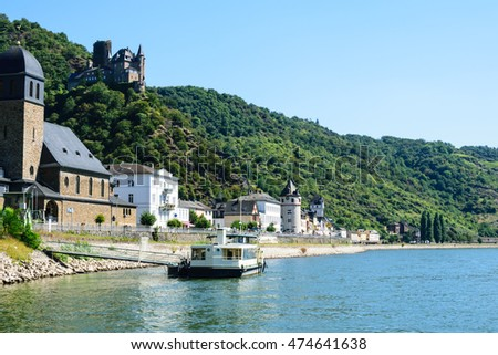 "Ship on river rhine with castle ""Maus"" in St. Goar"
