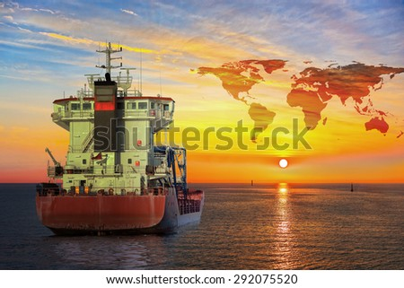 Ship on sea and World map background - shipping travel concept.  - stock photo