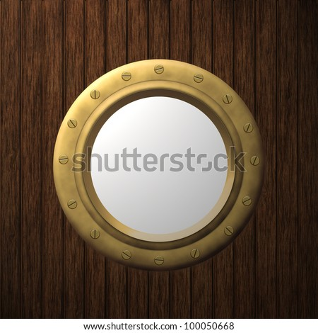 Ship porthole on the wooden background illustration, computer graphic