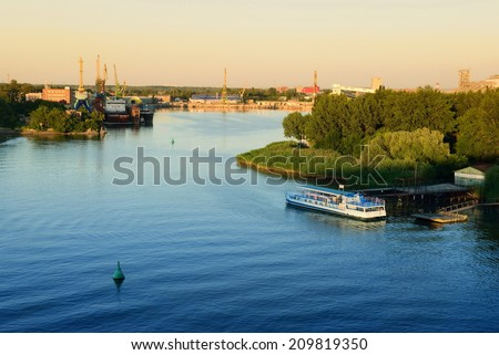 Ship repair in the river port - stock photo