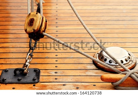 Ship rigging rope on old yacht vintage - stock photo
