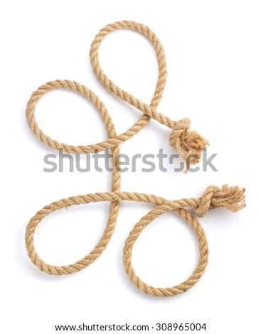 ship rope isolated on white background - stock photo