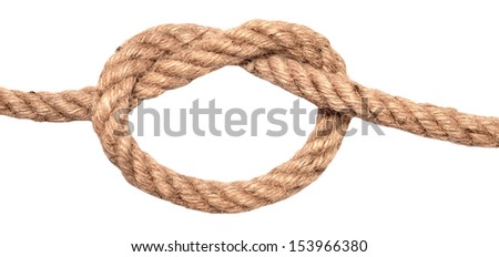 ship rope with knot isolated on white
