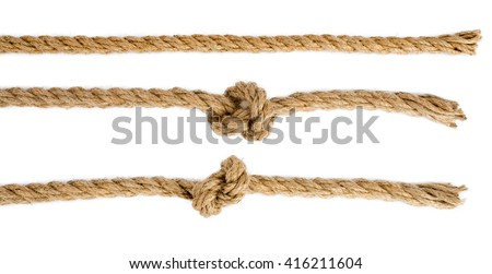 Ship ropes with knot isolated on white background, closeup - stock photo