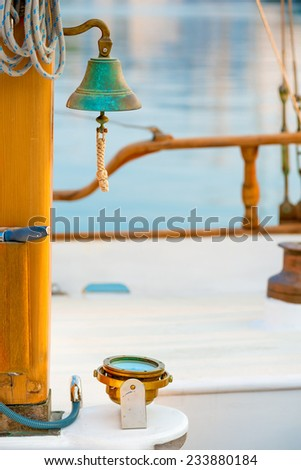 Ship's Bell on a yacht close up - stock photo
