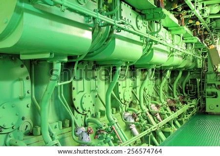 Ship's engine room - stock photo