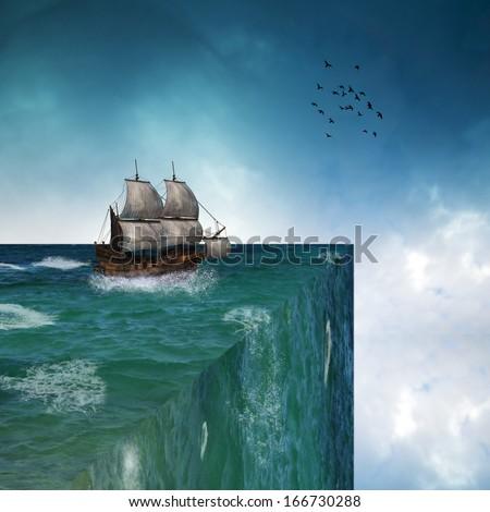 Ship sailing toward the abyss - stock photo