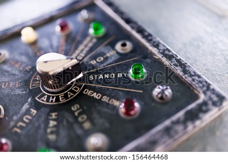 Ship speed controller set to stand by - stock photo