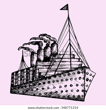 ship, steamboat, steamship, doodle style, sketch illustration, hand drawn, raster - stock photo