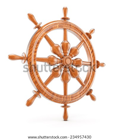 Ship steering wheel isolated on white background. 3d render