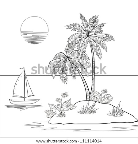 Ship, sun, tropical sea island with palm trees and flowers. Black contour on white background - stock photo
